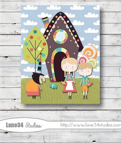Hansel and Gretel   Art Print for home decor by Lane34Party, $12.00