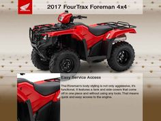 New 2017 Honda FourTrax Foreman 4x4 ATVs For Sale in Washington. 2017 Honda FourTrax Foreman 4x4, TRX5004X4 This offer limited to stock numbers shown. VIN number available upon request. Prices subject to change and exclude dealer set up, taxes, title, freight and licensing.