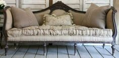 Burlap upholstery on French sofa, love!