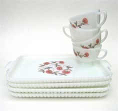 Fire King Fleurette Milk Glass Snack Plates Cups 8 by worldvintage
