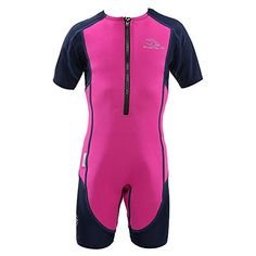 Aqua Sphere Stingray Short Sleeve Wet Suit, Pink/Blue, Size 10  http://fishingrodsreelsandgear.com/product/aqua-sphere-stingray-short-sleeve-wet-suit-pinkblue-size-10/  100% UVA/UVB protection Hybrid construction of neoprene and spandex Available sizes: 2Y-10Y