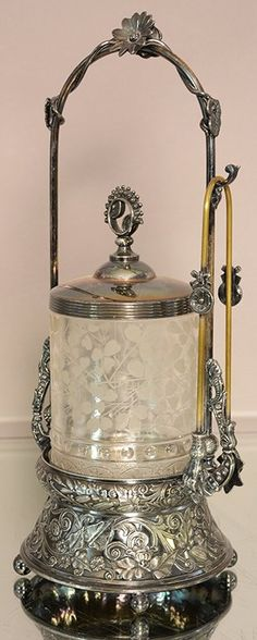 Lot: Victorian pickle castor with etched glass inside, Lot Number: 0558, Starting Bid: $25, Auctioneer: Bruhn's Auction Gallery, Auction: Fall Antique Estate Auction, Date: October 31st, 2015 EDT