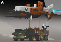 """Been a bit quiet as i have just moved studio. This is more of the mini project """"Pirates"""" looking at another group called warboys and here is there ship and truck sketches cheers!"""