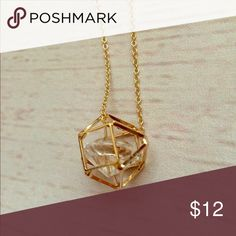 """•Caged•""""Diamond""""•necklace• A large, diamond shaped stone inside a gold colored, metal cage• 32"""" necklace with extender• new, unused, without tags• Jewelry Necklaces"""