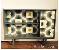 retro sideboard with funky paper design
