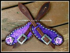 custom ordered purple sparkle spur straps