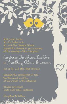 Yellow and Gray Wedding Invitations Love Birds por InvitingMoments