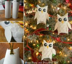 how to DIY Cute Paper Roll Snow Owls