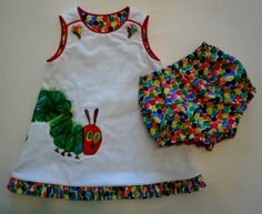 The Very Hungry Caterpillar - Reversible Appliqued Jumper A-Line Dress with Bloomers - Sizes 12 mths - 5/6 Years. $80.00, via Etsy.