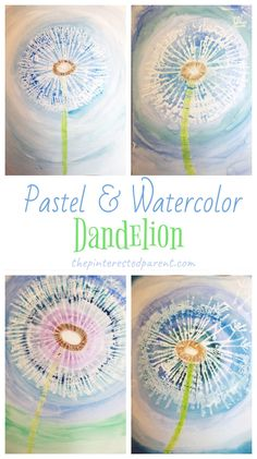Spring Art, Summer Art, Spring Crafts, Dandelion Art, Pastel Watercolor, Kids Watercolor, Watercolor Painting, Easy Art Projects, Art Projects For Adults