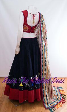 CHOLI-[navratri_chaniya_choli]-[chaniya_choli_online_USA]-[chaniya_choli_for_garba]-[chaniya_choli_for_navratri]-Raas The Global Desi Lehenga Choli Latest, Half Saree Lehenga, Lehenga Saree Design, Indian Lehenga, Lehenga Designs, Garba Dress, Lehnga Dress, Silk Saree Blouse Designs, Choli Designs