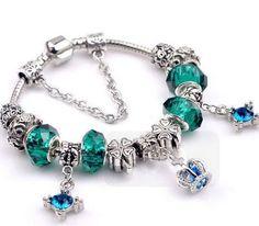 pandora bracelets green pandora style European charm bracelet silver plated with the green beads blue crown theme Love Charm pandora beads