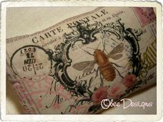 Vintage French Crested Bee Postcard Sachet with Roses and Pink Accents