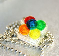 Rainbow  Lego Necklace  Upcycled Jewelry by PlunkettDesigns, $12.00