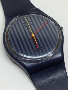 Rare Vintage Swatch Watch Pinstripe GA102 1985
