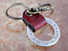 Latitude Longitude GPS Key Chain - Personalized Key Chain - Stainless Steel w/ Leather