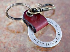 Latitude Longitude GPS Key Chain - Personalized Key Chain - Stainless Steel w/ Leather