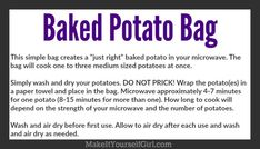 Love baked potatoes but hate how long they take to cook? Try making one of these DIY microwave potato bags and get those taters cooked in a hurry! Baked Potato Microwave, Microwave Baking, Microwave Bowls, Diy Sewing Projects, Sewing Ideas, Sewing Crafts, Sewing Hacks, Sewing To Sell, Preschool Printables