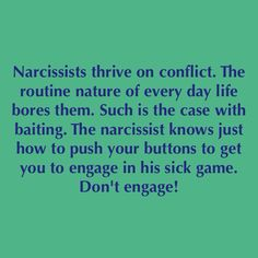 Narcissist and conflict. Don't engage, no contact.