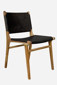 Leather Dining Chair, Flat - Teak & Black