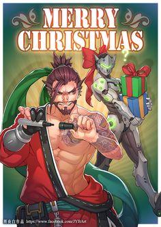 2016 Overwatch Christmas Card, JYB Art 【照夜白】 on ArtStation at https://www.artstation.com/artwork/V359X