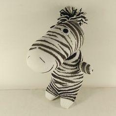 Handmade Sock Zebra Stuffed Animal Doll Baby by supersockmonkeys