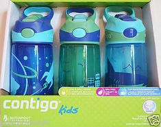 Contigo Kid 3-Pack Water Bottles Autospout Technology Spill-Proof BPA Free