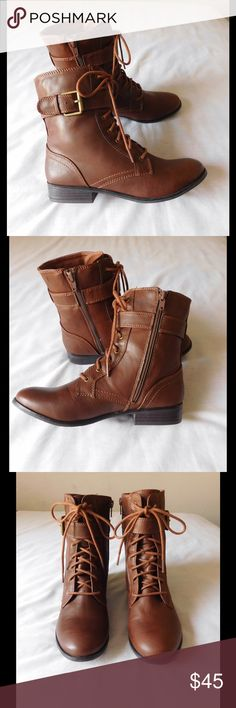 Fancy Brown Strappy Booties W/Side Zipper &Buckles NWOT. These pair of booties are really cute and beautiful. Soft and comfy material. Gorgeous color and exquisite design. Size 8.0 - Negotiable Price. Shoes Ankle Boots & Booties