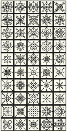 50 Blackwork Snowflakes by sebadesigns on Etsy https://www.etsy.com/listing/163539278/50-blackwork-snowflakes