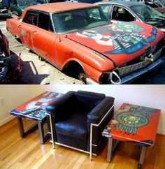 Shop car salvage for DIY furnishings! This one is v. cool - shared by www.highroadorganizers.com