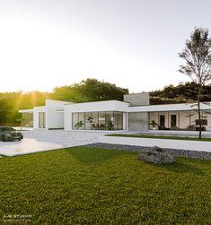 Villa design, minimalist home, luxury villa, modern house plans, modern hou Modern Minimalist House, Minimalist Architecture, Modern Architecture House, Barcelona Architecture, Architecture Design, Contemporary House Plans, Modern House Plans, Modern House Design, Contemporary Design