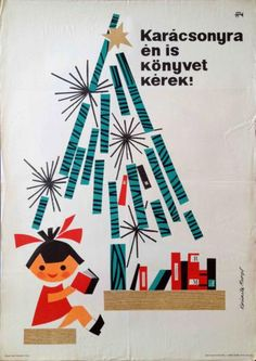 I would also like books for Christmas! Hungarian vintage poster.
