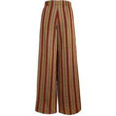 The Bee's Sneeze - Mustard with Red Velvet Stripes Palazzo Trousers ($275) ❤ liked on Polyvore featuring pants, striped palazzo pants, red trousers, mustard pants, red pants and palazzo pants