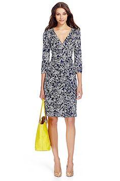 New Julian Two Silk Jersey Wrap Dress in in Pottery Flower Small Midnight