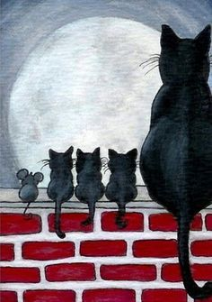 Details about Just Like Family Black Cat Kittens Fence Mice Mouse Friends- by BiHrLe Print - Animals Art And Illustration, Cat Illustrations, I Love Cats, Crazy Cats, Cute Cats, Cat Quilt, Cat Drawing, Drawing Base, Cat Art