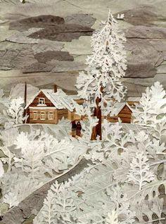 Зима  из природных материалов