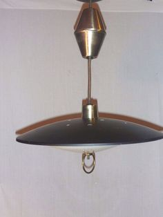 Awesome VTG Mid Century Star Light Pull Down Retractable Atomic UFO Light Fixture  Black