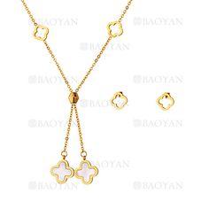juego collar y aretes de trebol dorado en acero inoxidable -SSNEG503507
