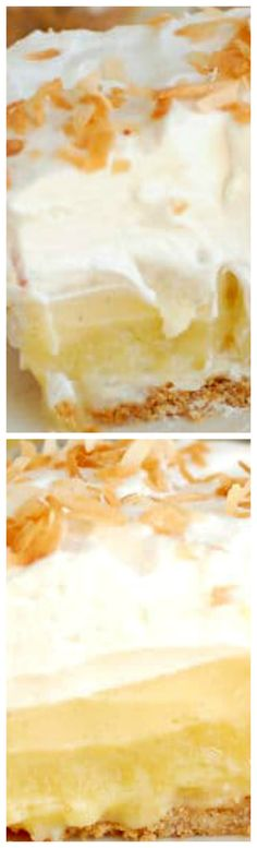 """Pina Colada Pie (with or without rum) ~  A toasted coconut-graham cracker crust is filled with a layer of pineapple/rum curd, a layer of coconut/rum cream and topped with a mound of rum-spiked whipped cream and, finally, a sprinkle of toasted coconut... Alcohol not your thing? Ok, make it a """"Virgin"""" Colada Pie by leaving out the rum."""