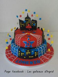 """Spiderman cake Cree par : """" Les gateaux d Ingrid """" ( facebook"""