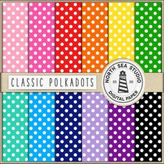 Polkadot Digital Paper Pack Scrapbook Paper by NorthSeaStudio