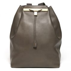 The Row - Drawstring Calfskin Backpack in Grey
