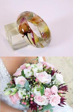 Custom Orders using client's dried flowers - Custom Bangle