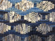 sashiko and other stitching: Tokyo International Great Quilt Festival - Part 4 Strip Quilts, Blue Quilts, Small Quilts, Quilt Blocks, White Quilts, Log Cabin Quilt Pattern, Log Cabin Quilts, Log Cabins, Asian Quilts