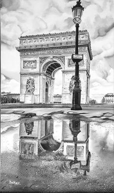 Paris Arch de Triumph Arche de Triomphe France Historical Monument Black and White Monochrome Origin Pencil Sketches Landscape, Pencil Art Drawings, Landscape Drawings, Art Drawings Sketches, Pencil Sketch Drawing, Pencil Shading, City Drawing, Paris Drawing, Monochromatic Art