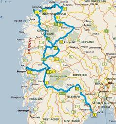 De route zoals wij door Noorwegen getrokken hebben
