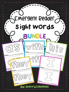 Emergent Reader Sight Words BUNDLE (as, with, his, they, and I) - Great for guided reading groups. These readers are wonderful for helping students learn each sight word. Kindergarten and first grade reading  $
