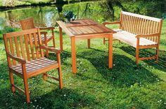 Esstischgruppe aus Eukalyptus von Merxx, Tisch ca. 150x90 cm, für 4 Personen | Gartenmoebel.de
