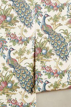 Peacock Toile Wallpaper - anthropologie.com