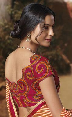 My Saree Wardrobe : Photo New Blouse Designs, Pattu Saree Blouse Designs, Choli Designs, Salwar Designs, Bridal Blouse Designs, Sari Blouse, Modern Saree, Simple Sarees, Designer Blouse Patterns